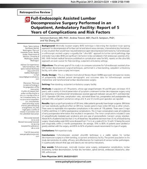 endoscopic assisted lumbar decompression